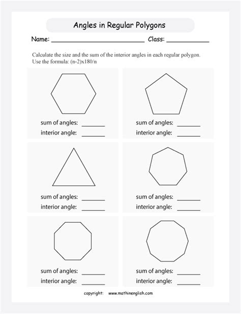 Printable Math Worksheets Polygons  Polygon Worksheets5th Grade Math Worksheets Polygons For