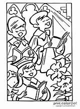 Choir Easter Church Coloring Singing Printcolorfun sketch template