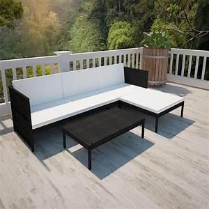 Gartenmöbel Lounge Rattan : poly rattan gartenm bel lounge set 3 sitzer schwarz g nstig kaufen ~ Indierocktalk.com Haus und Dekorationen