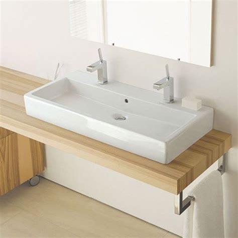 bureau design blanc vero vasque à poser 100 cm avec 2 trous de robinets