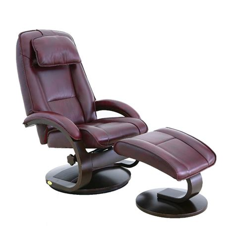 leather swivel recliner with ottoman oslo mac motion merlot leather swivel recliner with ottoman
