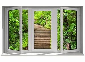Trompe L Oeil Fenetre Exterieur : stickers trompe l 39 oeil fen tre escalier dans la nature tatoutex stickers ~ Melissatoandfro.com Idées de Décoration