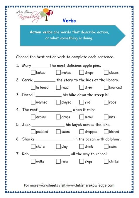 grade 3 grammar topic 13 verbs worksheets lets share