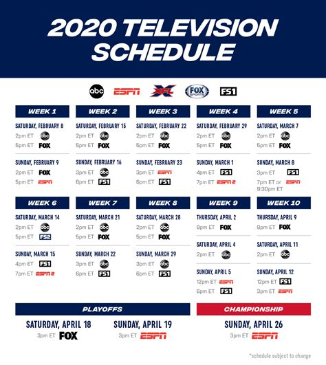 xfl television schedule review