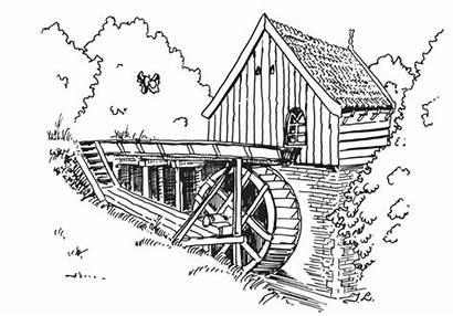 Watermill Coloring Pages Graphics Gifs Picgifs Agua