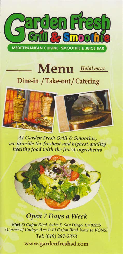 Garden Menu by Garden Fresh Grill Smoothie Menu Evan S Menus