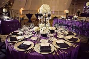wedding receptions black white and purple wedding reception via weddingwoof the merry