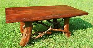 Hand crafted rustic coffee table with mountain laurel base for Log cabin coffee table