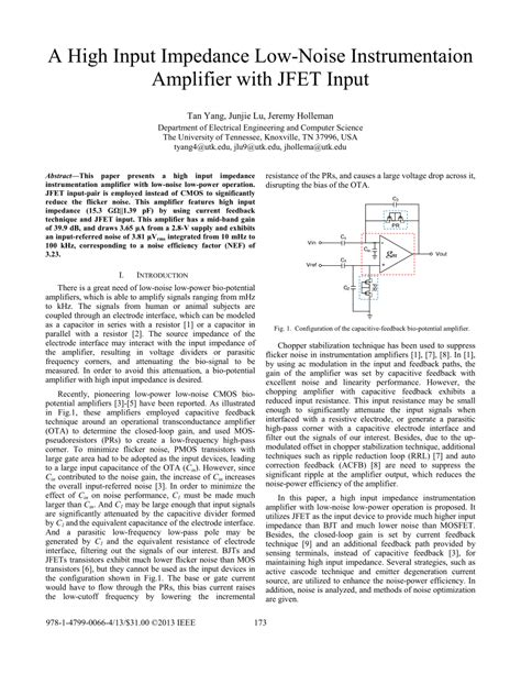 Pdf High Input Impedance Low Noise Instrumentaion