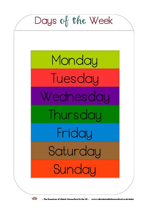 printable days   week workbook  poster