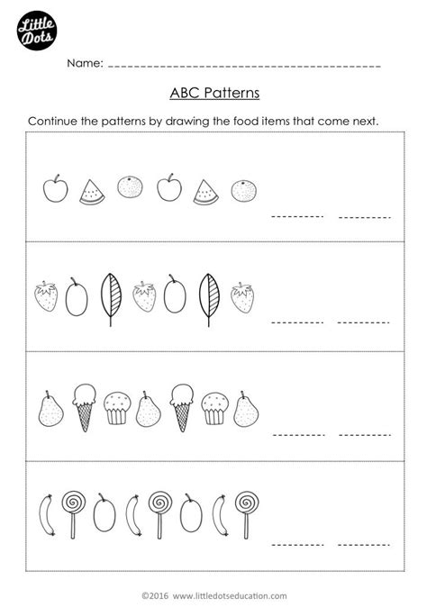 free the very hungry caterpillar patterning worksheet