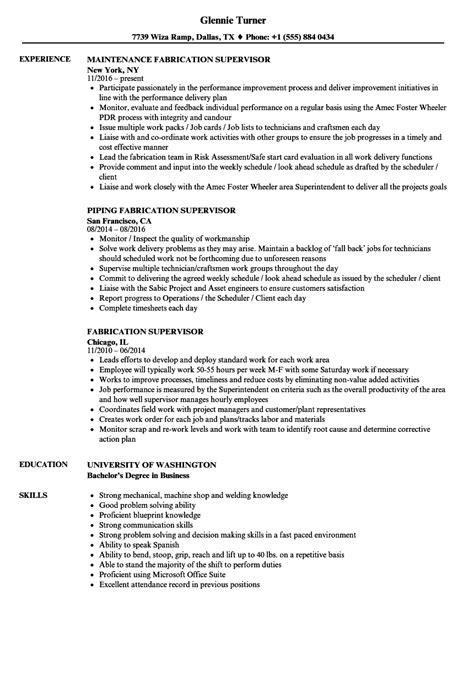 Piping Construction Supervisor Resume by Fabrication Supervisor Resume Sles Velvet