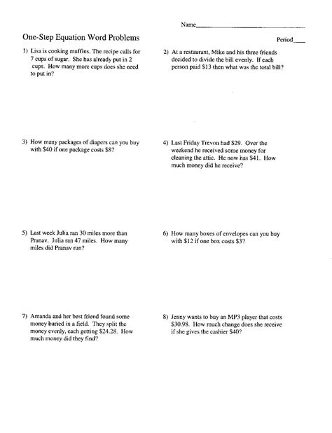 two step equation word problems pdf tessshebaylo