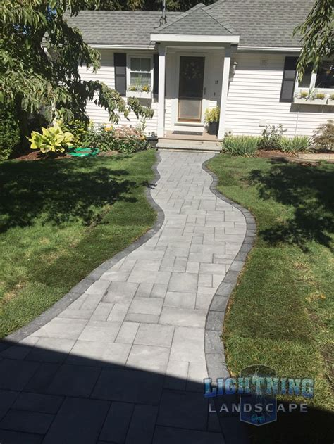 Welcoming Paver Front Walkway by Lightning Landscape, Inc ...