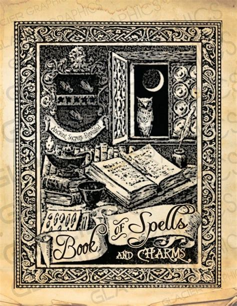 spell book cover halloween witch digital