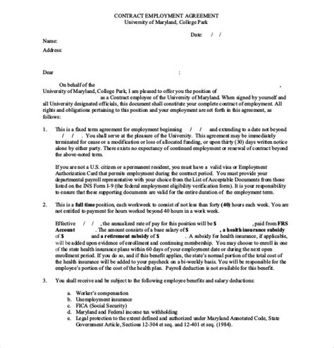 employment contract template free employee agreement templates 19 free word pdf document free premium templates