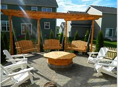 Apple Valley Fire pit with pergola swings Devine Design