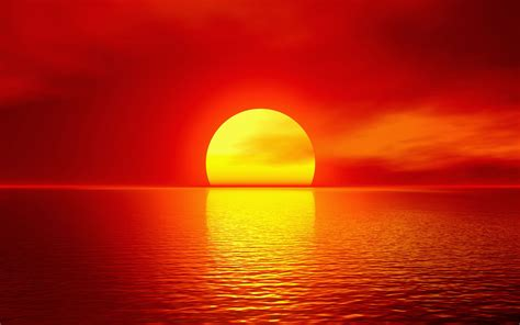 Bright yellow sunset over bright red sky reflected on the ...