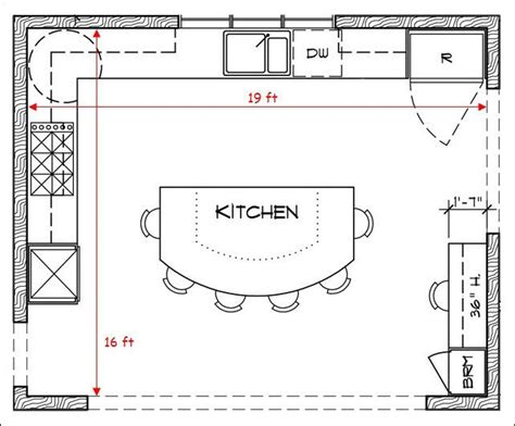 kitchen floor plan ideas l shaped kitchen floor plans with island and some stool 4797
