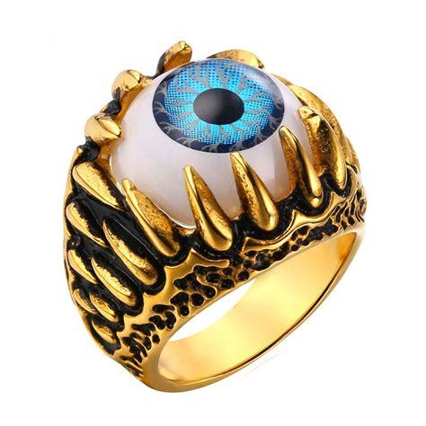 Illuminati Ring Biker Ring Blue Amulet Turkish Eye Illuminati Ring