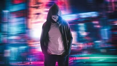 Hacker Neon Anonymous Hoodie Masked Wallpapers Desktop