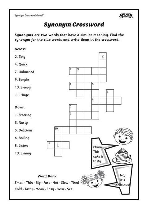 free synonyms crosswords worksheet 5 levels splash