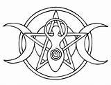 Pentacle Goddess Ancasta Deviantart Pentagram Coloring Wiccan Moon Pagan sketch template