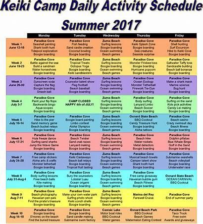 Camp Summer Daily Beach Program Camping Schedule