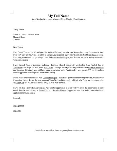 Cover Letter On Word by Investment Banking Ib Cover Letter Word Template Cfi