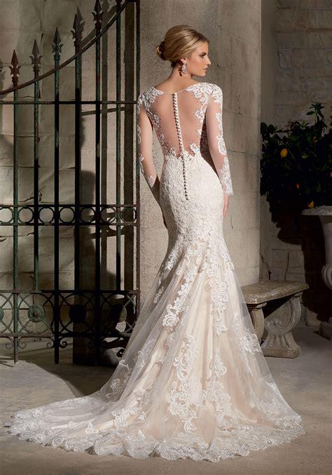 chantilly lace  wide hemline wedding dress style