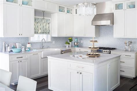 white kitchen cabinets with blue glass backsplash white kitchen with blue mosaic tile backsplash 2203