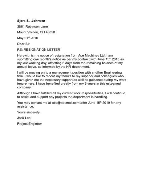 Standard Resignation Letter Sample - Edit, Fill, Sign Online | Handypdf