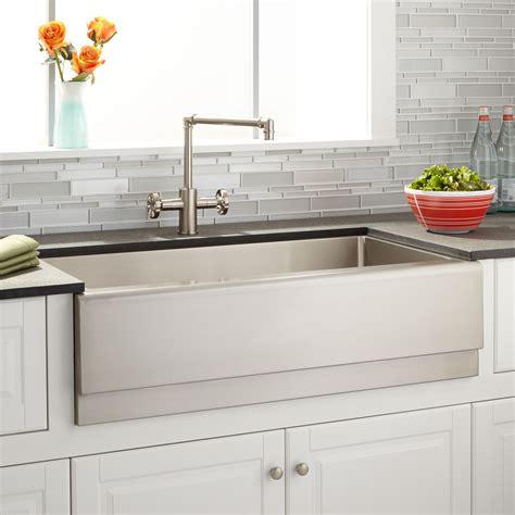 stainless steel farmhouse kitchen sinks 36 quot optimum stainless steel farmhouse sink beveled apron 8236