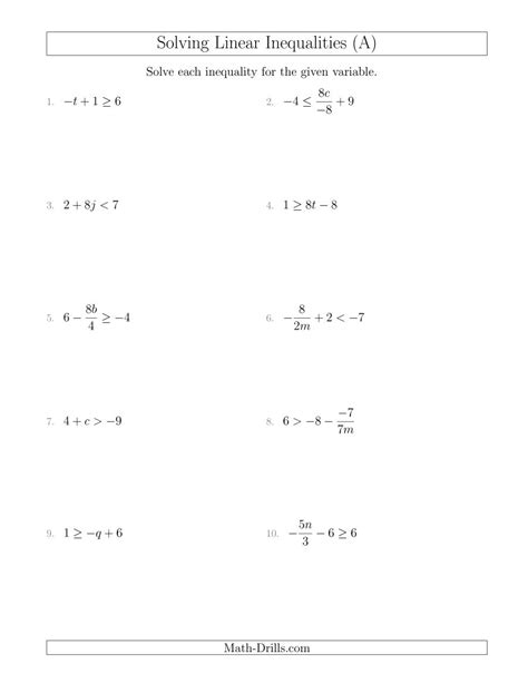 solving linear inequalities mixed questions a algebra worksheet
