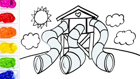 playground coloring pages coloring tunnel slides and tower playground colouring