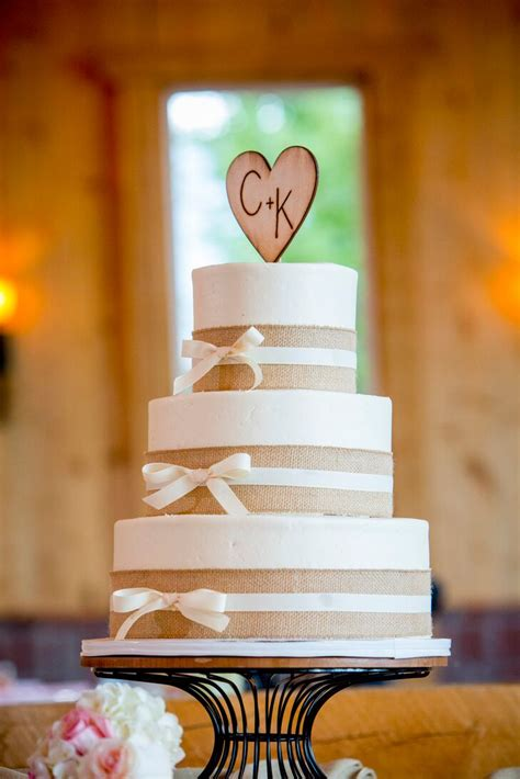 burlap adorned  tier cake