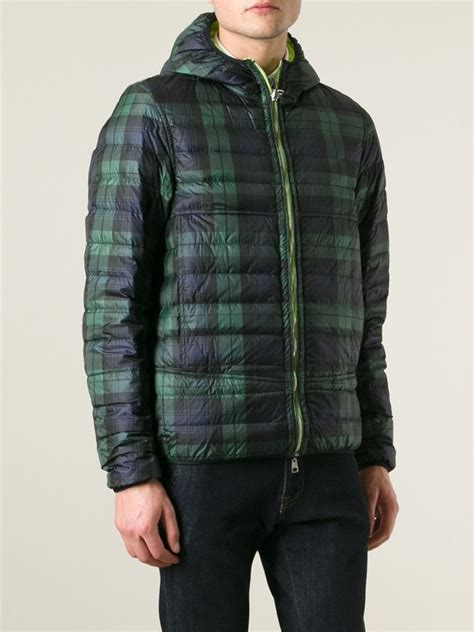 plaid padded vest moncler plaid reversible padded jacket in green for lyst
