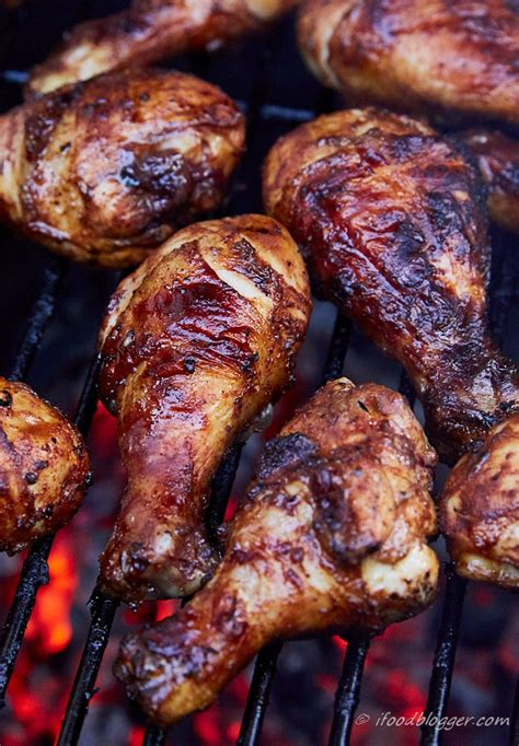 spicy bbq style grilled chicken drumsticks  food blogger