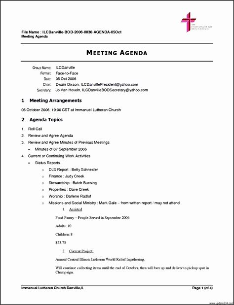 church business meeting agenda template