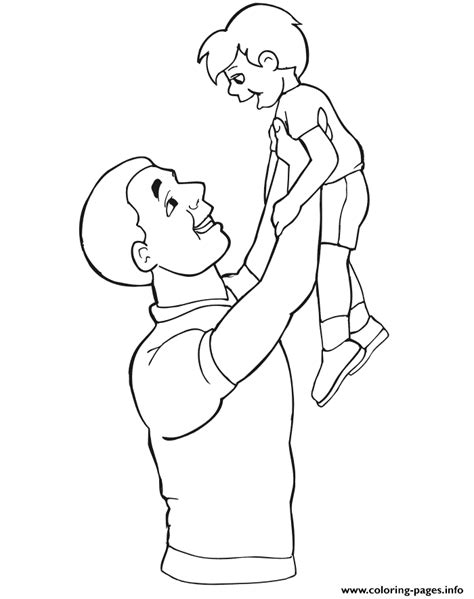 father  son preschool coloring pages printable
