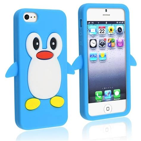 3d iphone 5s cases iphone 5 3d penguin light blue