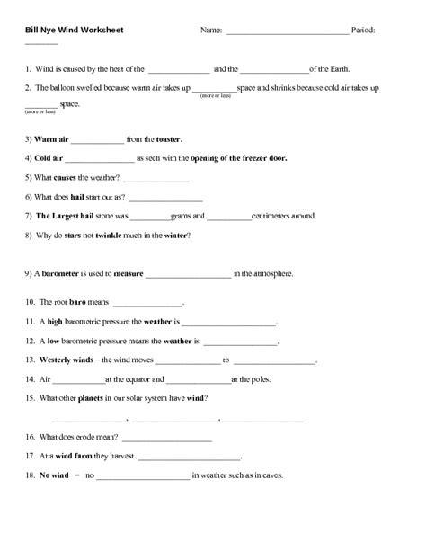 worksheets bill nye atmosphere worksheet opossumsoft