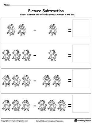 early childhood subtraction worksheets myteachingstationcom