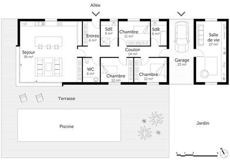 plan maison plain pied 3 chambres 100m2 plan maison plain pied avec piscine ooreka