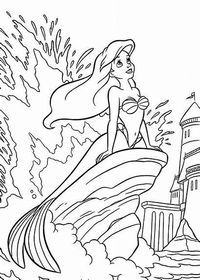 Coloring Ariel Mermaid Printable Princess Disney Sea