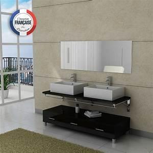 Meuble Double Vasque Noir : meuble salle de bain ref dis985n ~ Teatrodelosmanantiales.com Idées de Décoration