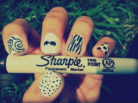marble nails images  pinterest sharpie nail