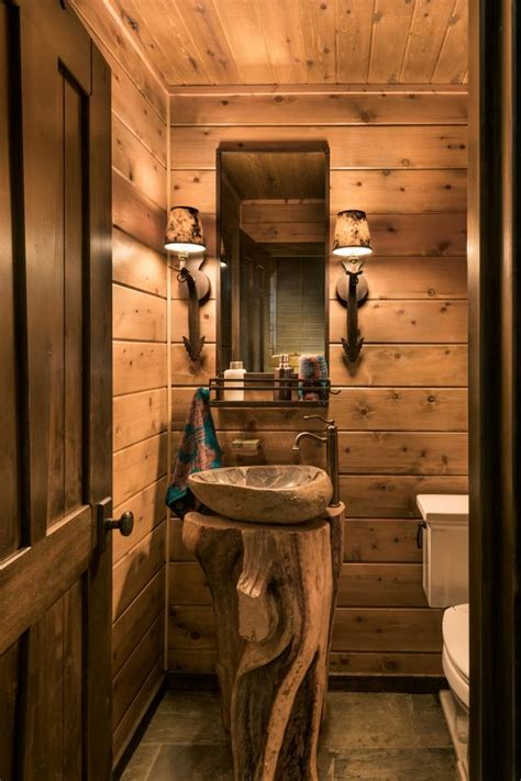 rustic powder room  fossilized sink hgtv