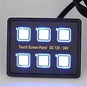 12v  24v Touch Screen Switches Panel 6 Gang Led Switch