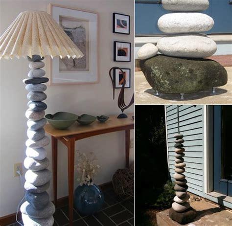 deko ideen mit steinen fuer innen und aussencoole stehlampe